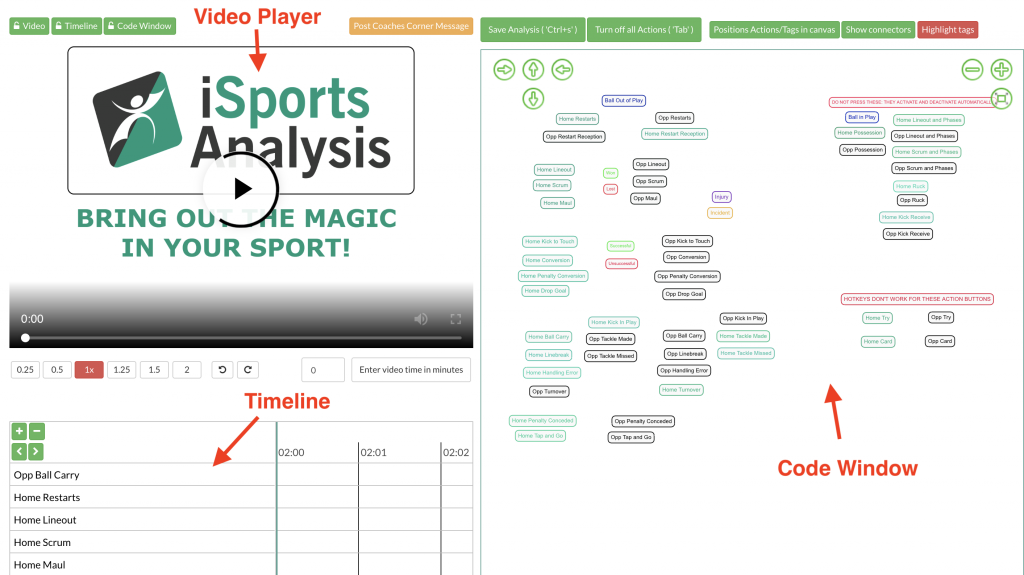 iSportsAnalysis - Performance analysis Code Window