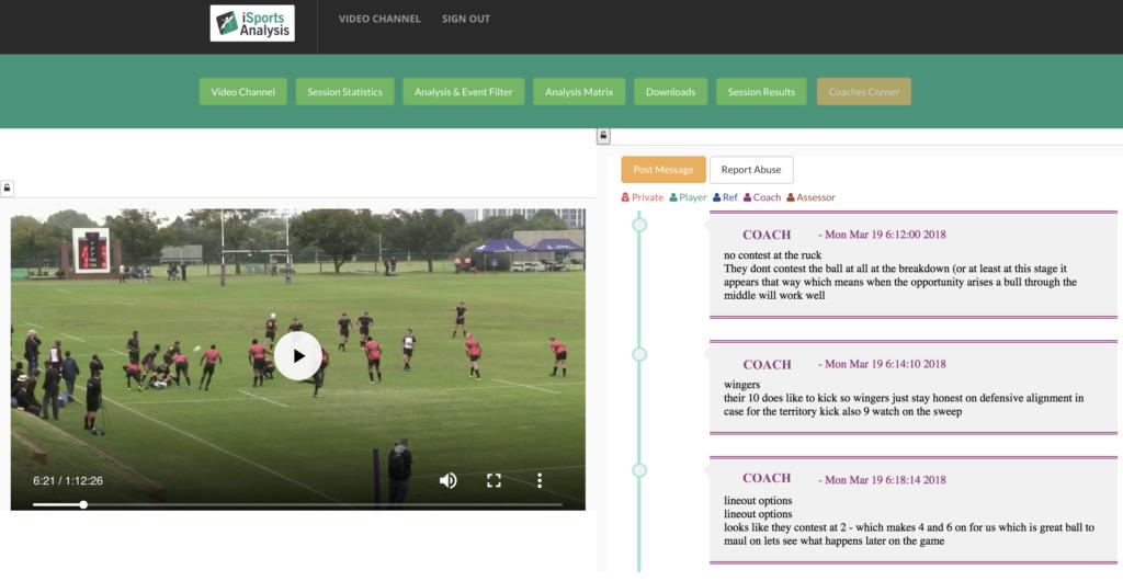 iSportsAnalysis - Performance analysis - Coaches Corner